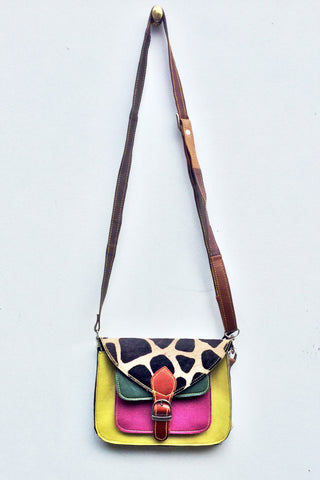 Sketch London animal print satchel leather bag cross body upcycled ethical sustainable women giraffe print