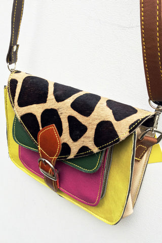 Giraffe Print Satchel Bag: Khaki, Pink, Yellow