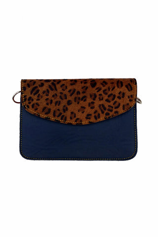 Sketch London animal print envelope leather bag cross body upcycled ethical sustainable women navy blue leopard print