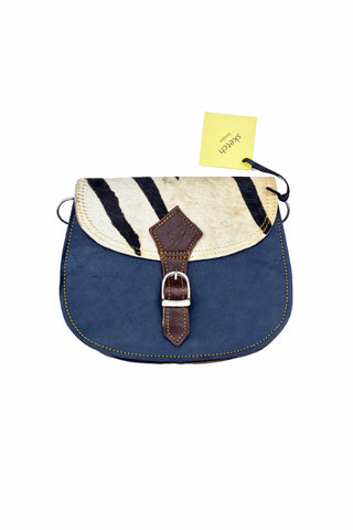 sketch london animal print saddle shape cross body bag navy blue zebra print leather bag ethical sustainable