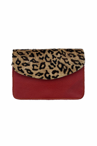 Animal Print Envelope Bag, Blood Red
