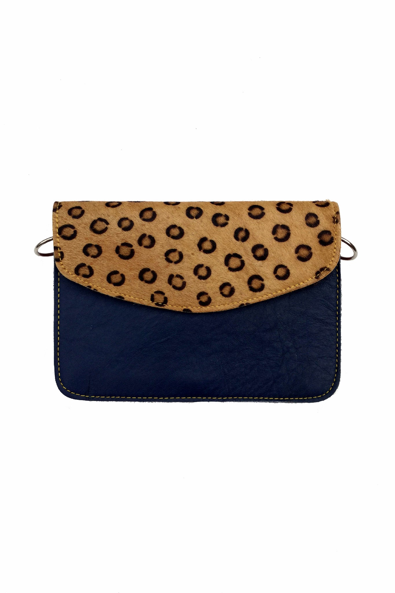 Sketch London animal print envelope leather bag cross body upcycled ethical sustainable women dark blue leopard print