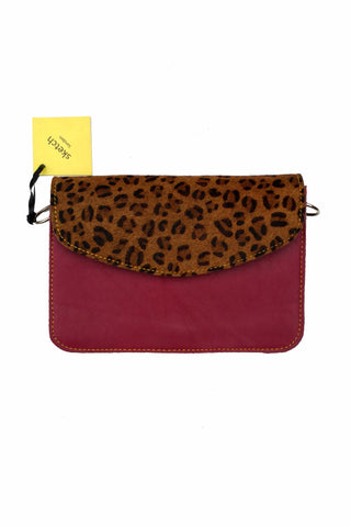 Sketch London animal print envelope leather bag cross body upcycled ethical sustainable women plum leopard print