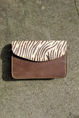Zebra Animal Print Cross Body Leather Clutch Bag Gift Women