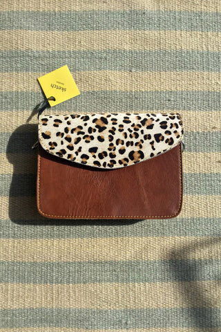 Snow Leopard Animal Print Cross Body Leather Clutch Bag Gift Women Caramel Brown