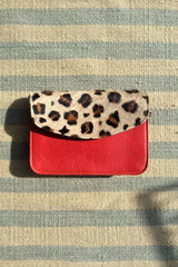 Snow Leopard Animal Print Cross Body Leather Clutch Bag Gift Women Sunset Pink Red