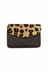 Sketch London animal print envelope leather bag cross body upcycled ethical sustainable women dark brown leopard print