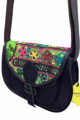 sketch london shimla antique vintage embroidery dark brown leather saddle shape crossbody bag ethical sustainable women unique gift