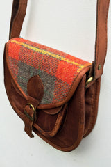 Harris Tweed cross body leather bag women ethical sustainable sketch london