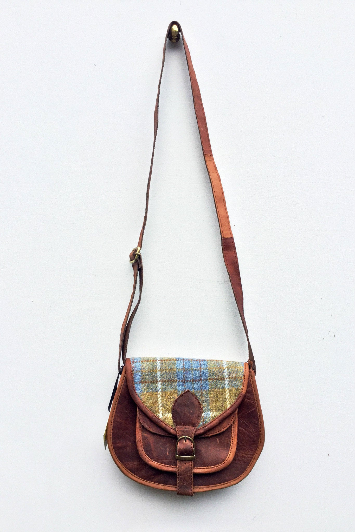 Harris Tweed cross body leather bag women ethical sustainable sketch london pastel blue green tartan