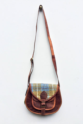 Harris Tweed & Leather Bag: Pastel Sky