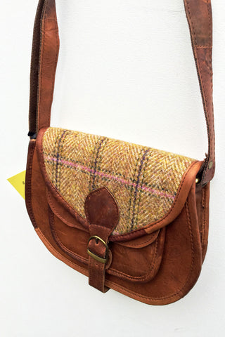 Harris Tweed cross body leather bag women ethical sustainable sketch london highland heather pink
