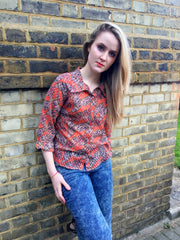 Sketch London Paisley print red indigo cotton voile shirt Summer for women