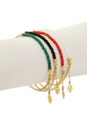 Sketch London Crystal Talisman Bracelet Hand of Fatima Green,Black,Red, White
