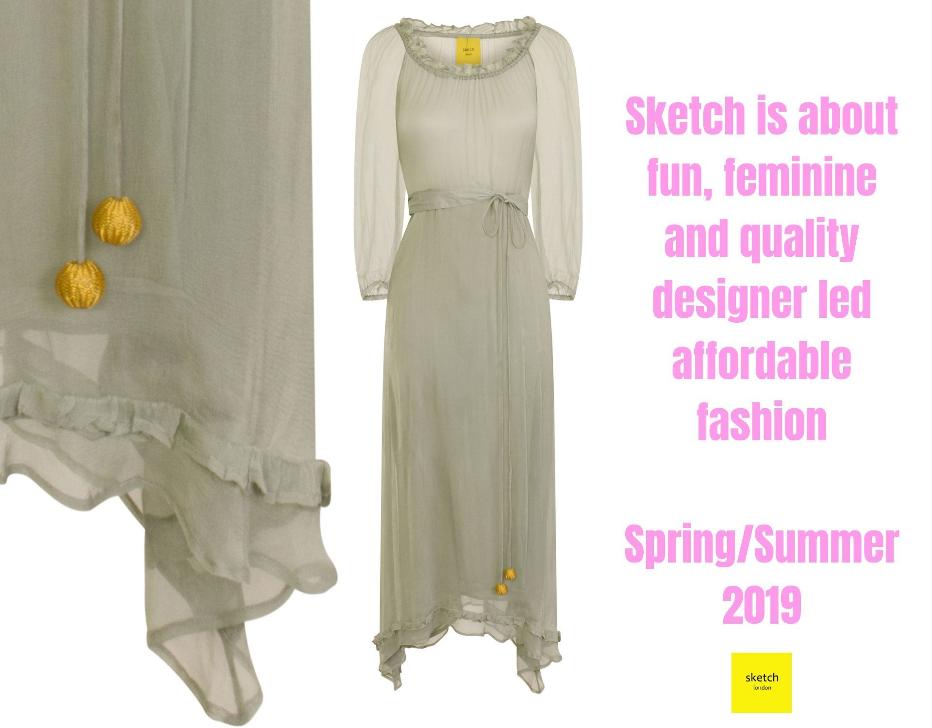 Sketch London fashion lagoon shimmer tunic beach holiday