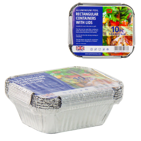 DISPOSABLE RECTANGULAR CONTAINERS WITH LIDS 10 PCS