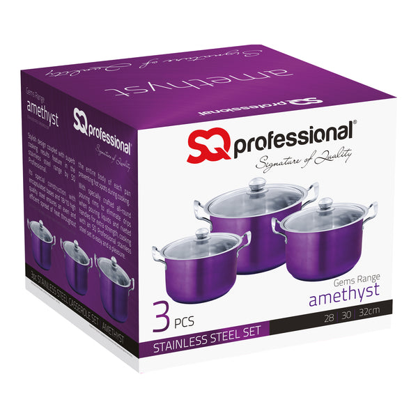 SQ PROFESSIONAL STAINLESS STEEL POT SET 3PCS