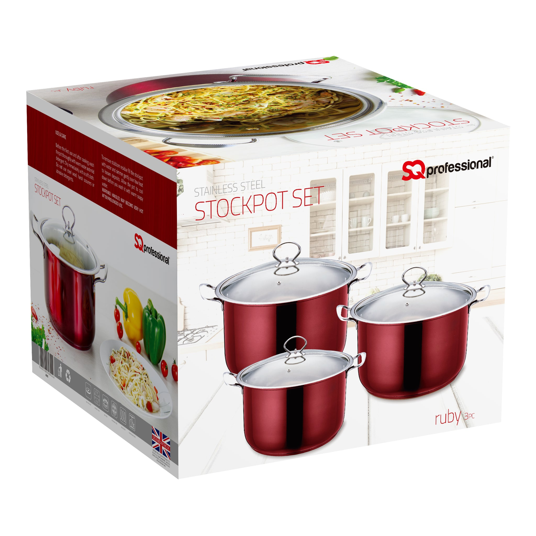 SQ PROFESSIONAL STAINLESS STEELSTOCKPOT SET 3PCS
