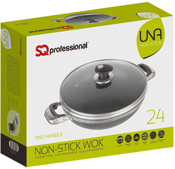 SQ PROFESSIONAL UNA NON-STICK TWO HANDLE WOK WITH LID