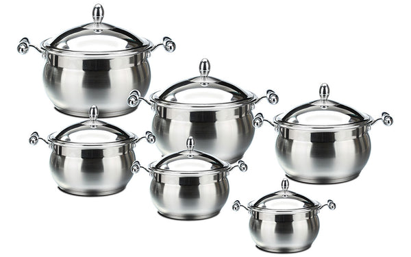 LUSTRO RANGE - 6PC IMPERIALE STAINLESS STEEL STOCKPOT SET