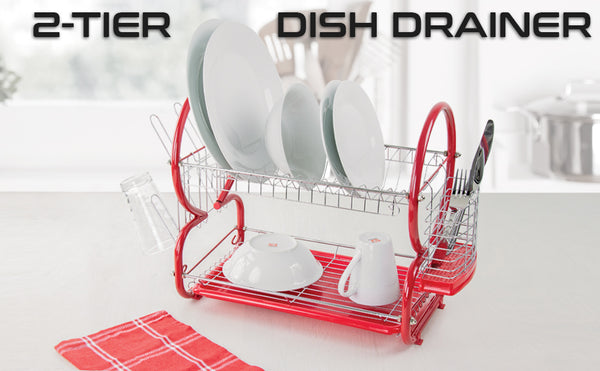 2 LAYER TIER CHROME DISH DRAINER