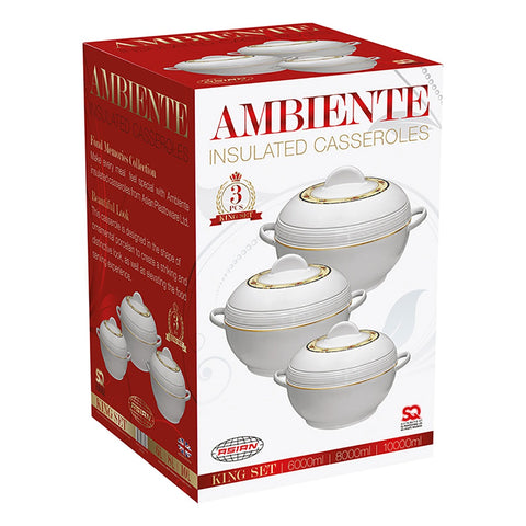 3PC HOT POTS- INSULATED AMBIENTE CASSEROLE SET (ROYAL & KING)