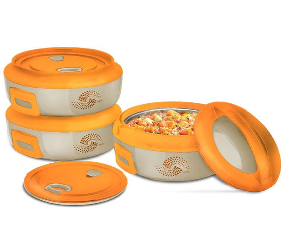 HOT POTS - 3PC MICROWAVE SAFE INSULATED POT COLD HOT FOOD SERVING CASSEROLE SET(LARGE)