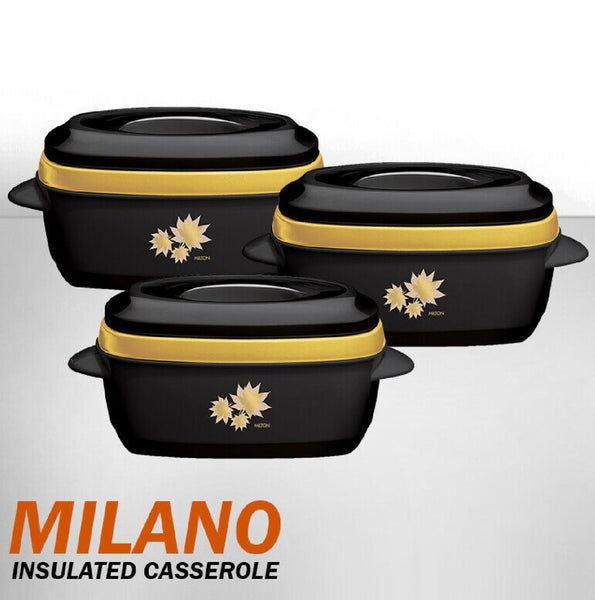 MILANO HOT POTS - 3PC THERMAL INSULATED SERVING HOT FOOD WARMER HOTPOT CASSEROLE SET