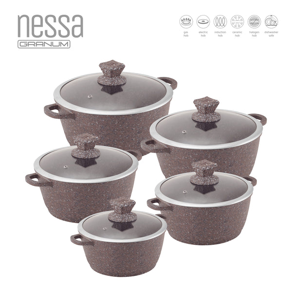 5PC NESSA GRANUM MARBLE NON-STICK COOKWARE SET