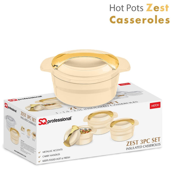 ZEST HOT POTS - 3PC INSULATED PANS HOTPOT FOOD WARMING & SERVING DISHESCASSEROLE SET
