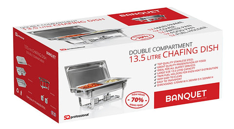 BANQUET - 13.5L DOUBLE COMPARTMENT LARGE CHAFING DISH
