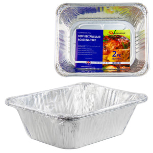 2 PCS DEEP RECTANGULAR SET FOIL TRAY