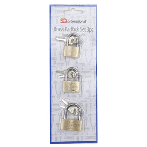 3PC BRASS PADLOCK SET