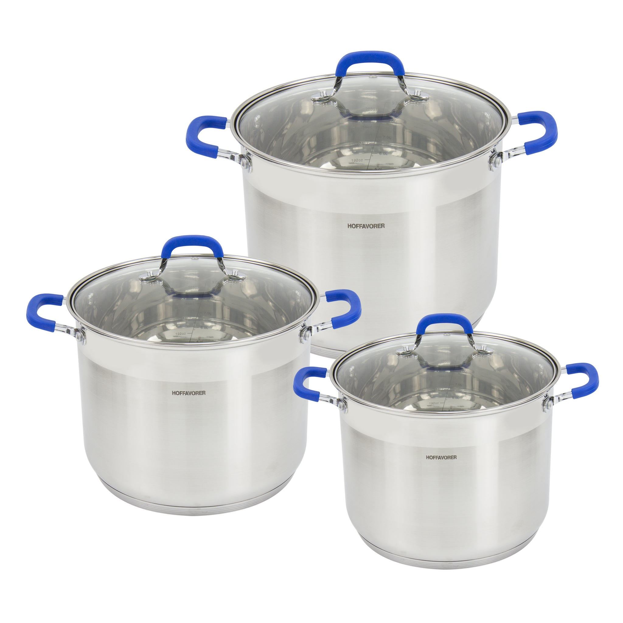 HAFFAOVER STAINLESS STEEL POTS 6 PCS INCLUDING LIDS