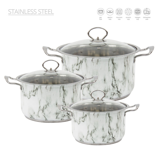 NEW STAINLESS STEEL POT SET WITH MARBLE EFFECT
