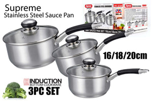 SUPREME STAINLESS STEEL SAUCE PAN 3 PCS