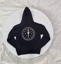 Load image into Gallery viewer, rear of Black Streetwear Hoodie with INDY logo