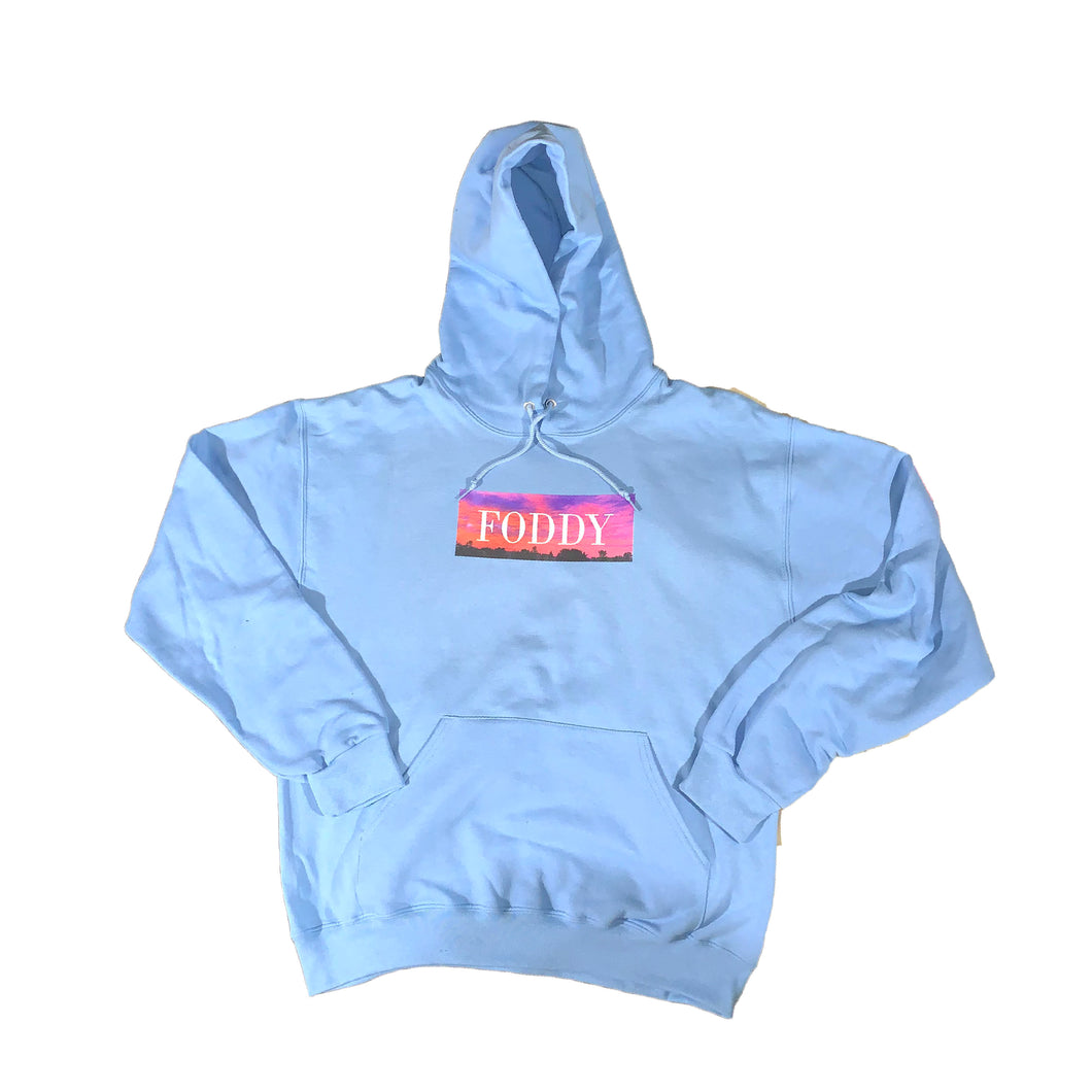 Men's Light Blue Cotton Hoodie for Streetwear