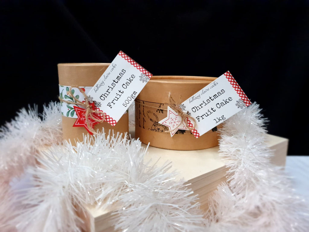 Fruitcake in gift box, various sizes