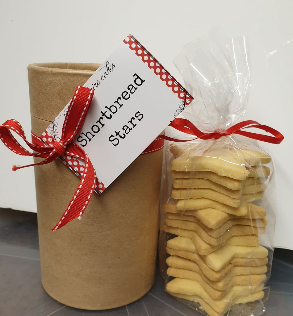 Shortbread stars in a gift cylinder
