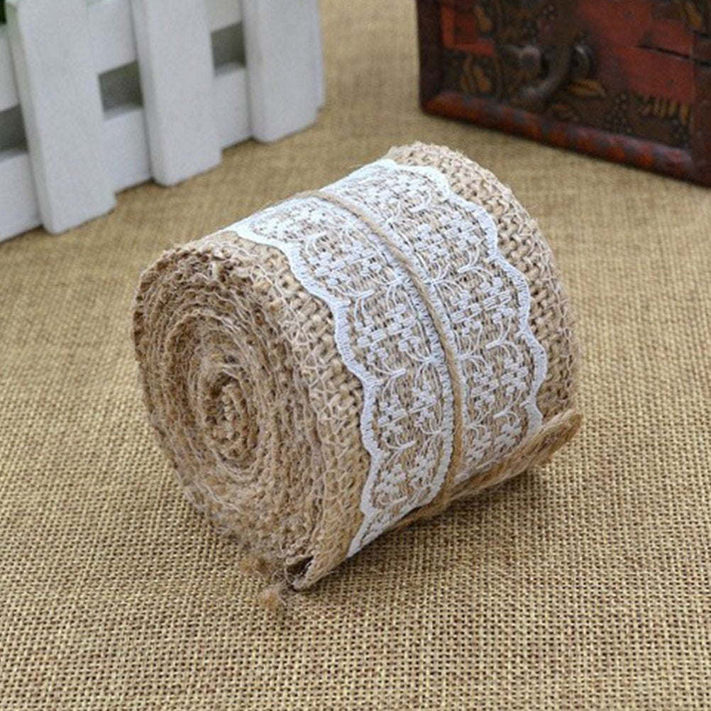 Hessian & White Lace Ribbon