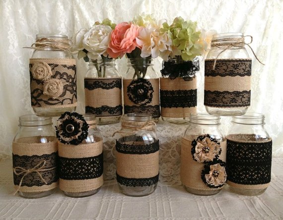 Hessian and Black lace ribbon
