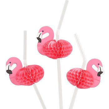 Tropical Pink Flamingo Straws