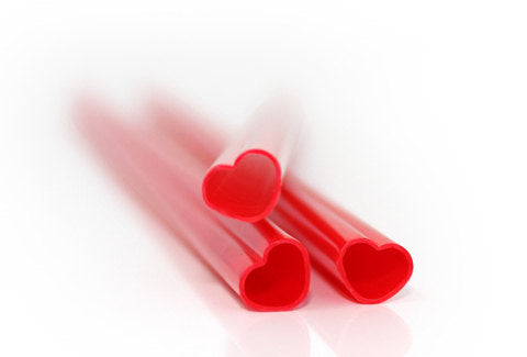 Pink heart-shaped straws