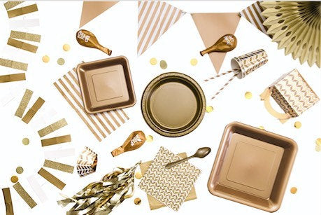 Gold Chevron Square Paper Plates