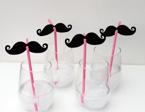 Little man moustache straws