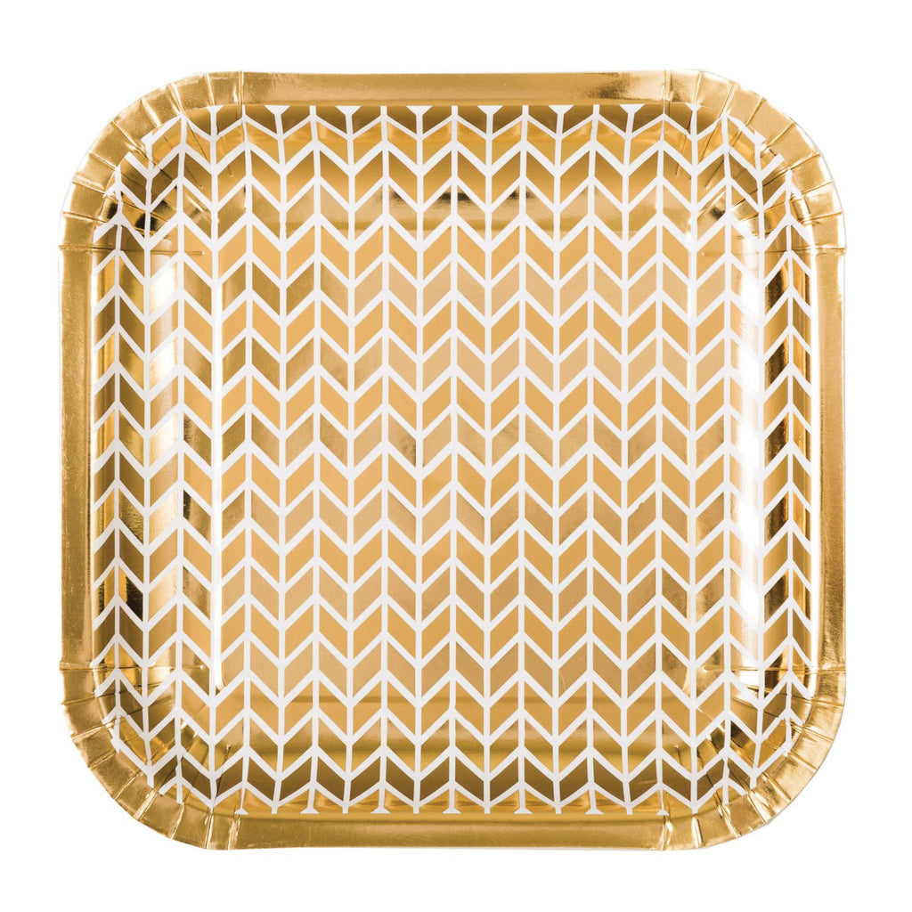 Square Gold Chevron Paper Plates