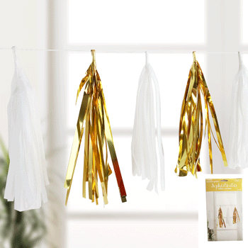 Gold and white tissue paper tassel garland
