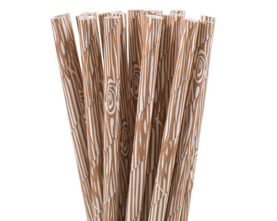 Wood Grain Print Straws