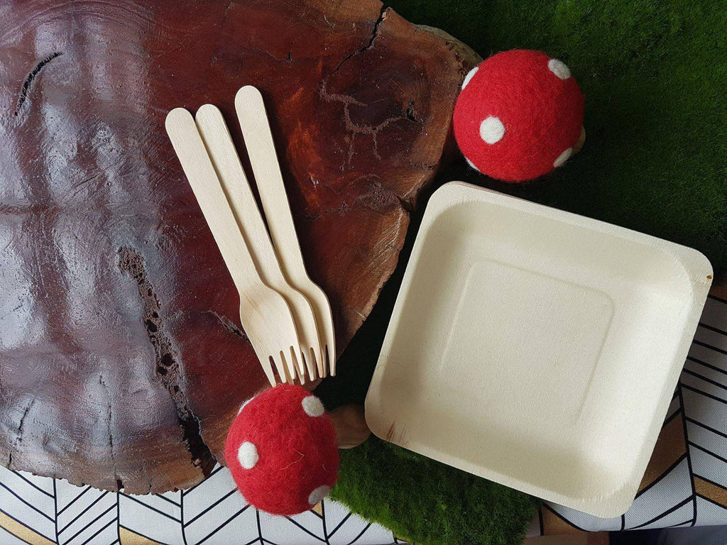Square Disposable Wood Cake or Canape Plates